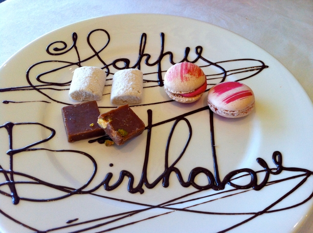 Jonah's Whale Beach happy birthday petit fours