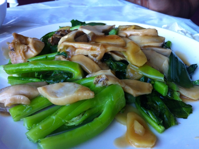 Chinese broccoli gai lan abalone