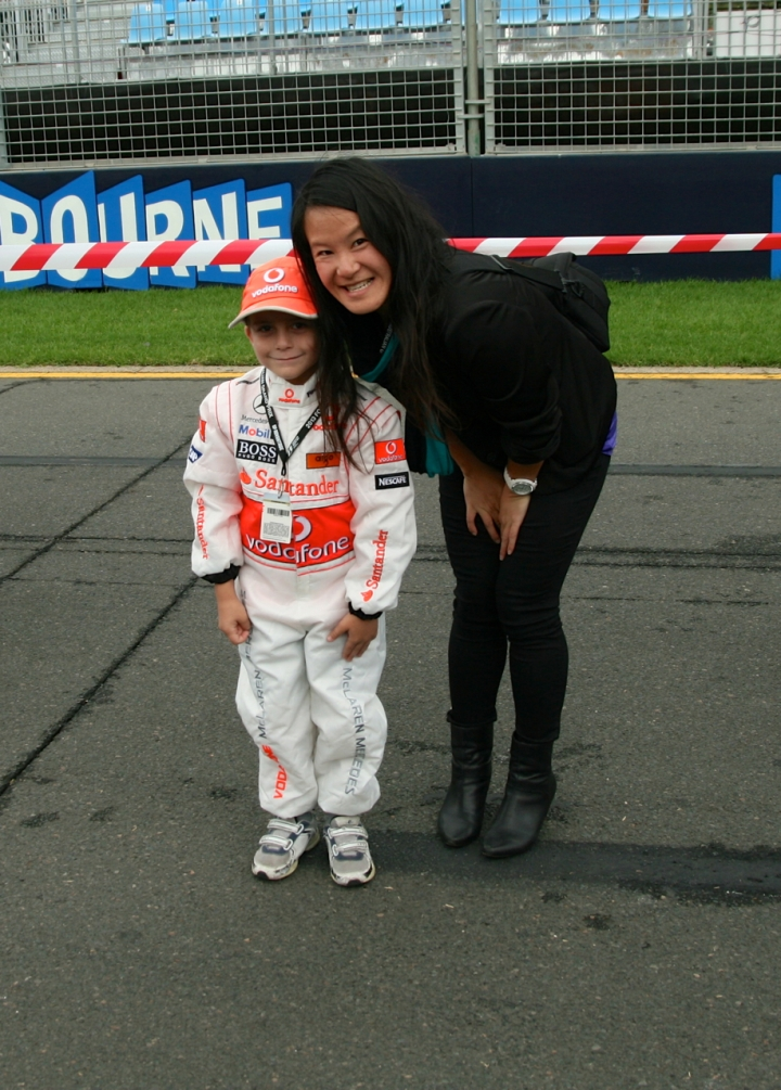 boy dressed as lewis hamilton