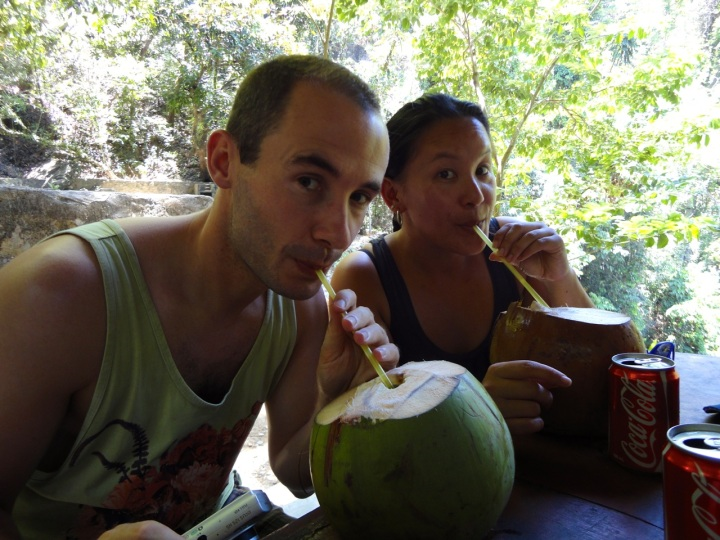 drinking from coconuts