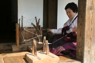 korean woman weaving