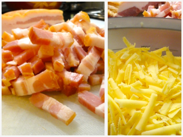 speck and grated cheese