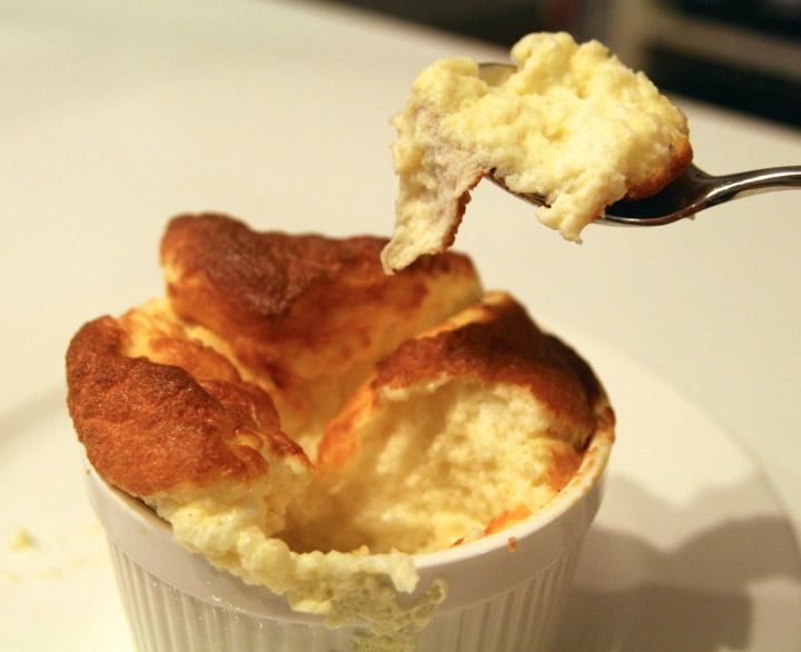 Cheese souffle with spoon