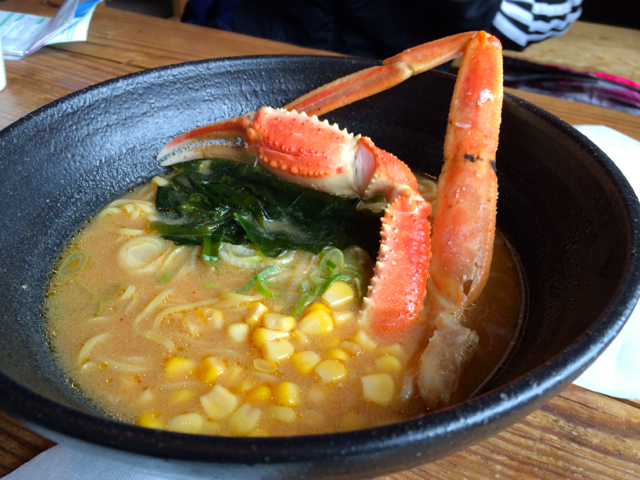 Ramen with snow crab legs