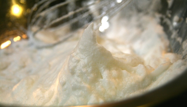 Whisking egg whites to stiff peaks